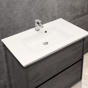 Flared Mid-Edge 5097 Ceramic 86cm Inset Basin with Flared Wide Bowl