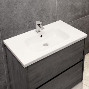 Mid-Edge 5414 Ceramic 81cm Inset Basin with Oval Bowl