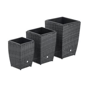 Set of 3 Shaped Planters in Grey