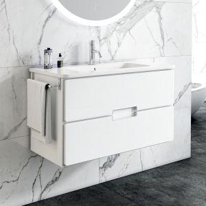 Adele 60cm 2 Drawer Basin Single Vanity Unit or Basin Set in White