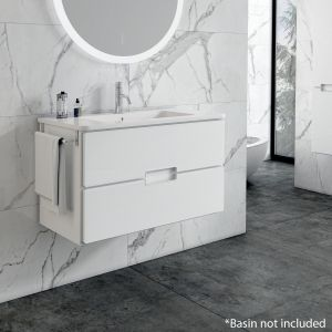 Adele 60cm Floating 2 Drawer Basin Unit in White