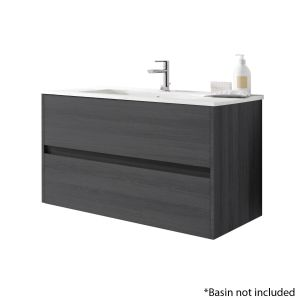 Alba 100cm 2 Drawer Basin Unit in Grey Oak
