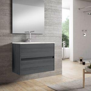 Alba 80cm Basin Set - 80cm Basin & 2 Drawer Basin Unit in Grey Oak