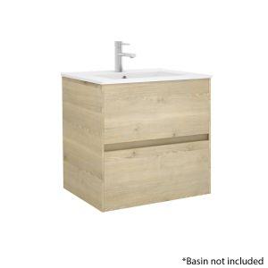 Alba 60cm 2 Drawer Basin Unit in European Oak