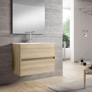 Alba 80cm Basin Set - 80cm Basin & 2 Drawer Basin Unit in European Oak