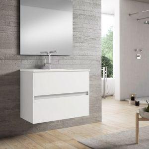 Alba 80cm Basin Set - 80cm Basin & 2 Drawer Basin Unit in Gloss White