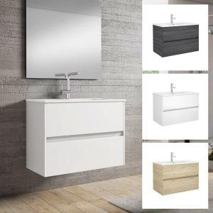 Alba 80cm 2 Drawer Single Vanity Unit or Full Basin Set Various Colours