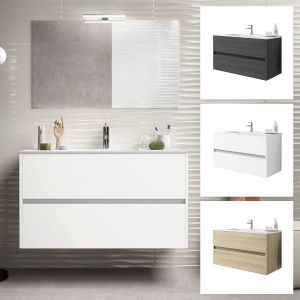 Alba 100cm 2 Drawer Single Vanity Unit or Full Basin Set Various Colours