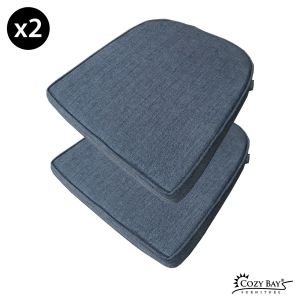 Panama Fabric Seat Pad (Set of 2) in Navy Grey