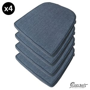 Panama Fabric Seat Pad (Set of 4) in Navy Grey