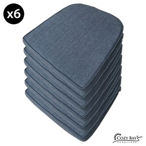 Panama Fabric Seat Pad (Set of 6) in Navy Grey