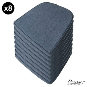 Panama Fabric Seat Pad (Set of 8) in Navy Grey