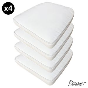 Panama Fabric Seat Pad (Set of 4) in Creamy White