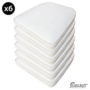 Panama Fabric Seat Pad (Set of 6) in Creamy White