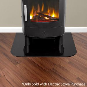 Rectangular Glass Hearth in Gloss Black