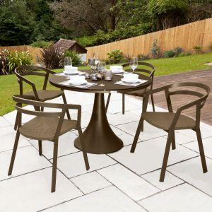 La Seine Aluminium & Textilene 4 Seater Dining Set in Coffee with Coffee Sling & Matte Coffee Glass