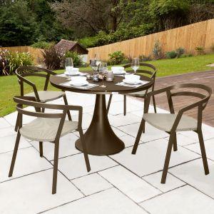 La Seine Aluminium & Textilene 4 Seater Dining Set in Coffee with Khaki Sling & Matte Coffee Glass