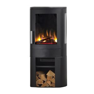 Neo Deluxe 2kw Holographic Electric Stove with Logstore Base in Black