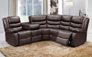 Roman Leather 5 Seat Recliner Corner Sofa in Brown
