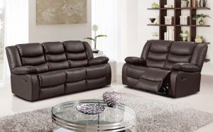 Roman Leather 5 Seat Recliner Sofa Set in Brown