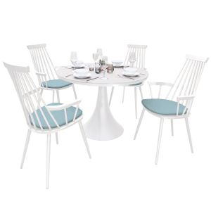 Royal Aluminium 4 Seater Dining Set in White with Light Blue Cushions & Matte White Glass