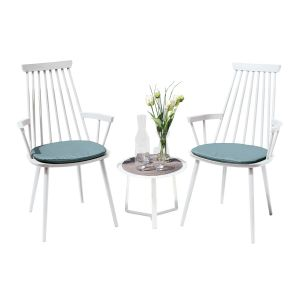 Royal Aluminium 2 Seater Tea for Two Set in White with Light Blue Cushions & Apollo Table