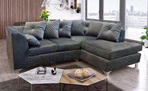 Royale Velvet Right-Side 4 Seat Corner Sofa in Grey