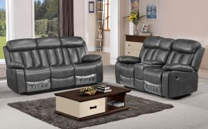 Somerton Leathaire 5 Seat Recliner Sofa Set in Grey