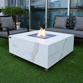 Bianco Marble Porcelain Square Fire Table