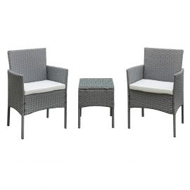 Antigua Rattan 2 Seat Tea for Two Set in Grey