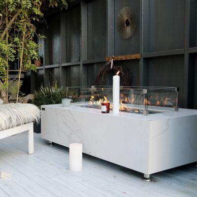 Carrara Marble Porcelain Rectangular Fire Table
