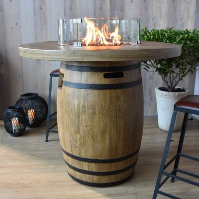 Lafite GFR Concrete Round Barrel Bar Table with Wood Effect