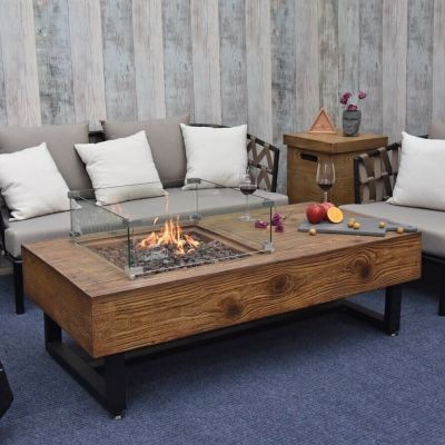 Naples GFR Concrete Rectangular Coffee Table with Wood Effect