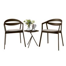 La Vida Aluminium 2 Seater Tea for Two Set in Coffee with Khaki Cushions & Explorer Table