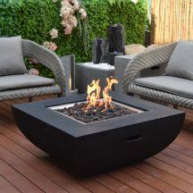 Aurora GFR Concrete Square Fire Table in Black