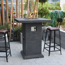 Montreal HPC Concrete Square 4 Seater Fire Pit Bar Table in Classic Grey