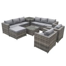 Malta Rattan 9 Seat U-Shape Set in Grey