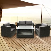 Cuba Rattan 4 Seat Lounge Set in Charcoal with Grey Cushions