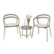 La Seine Aluminium & Textilene 2 Seater Tea for Two Set in Light Taupe with White Sling & Apollo Table