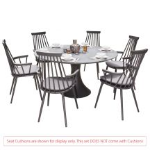 Royal Aluminium 6 Seater Dining Set in Charcoal with Matte Grey Glass (No Cushions)