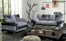 Dino Fabric 5 Seat Sofa Set in Black & Grey