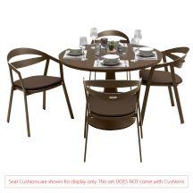 La Vida Aluminium 4 Seater Dining Set in Coffee with Matte Coffee Glass (No Cushions)