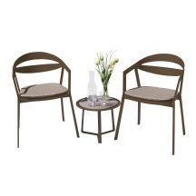 La Vida Aluminium 2 Seater Tea for Two Set in Coffee with Khaki Cushions & Apollo Table