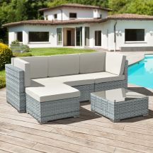 Trinidad Rattan 4 Seat Modular Chaise Lounge Set in Stone Grey