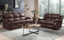 Valencia Leather 5 Seat Recliner Sofa Set in Brown