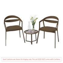 La Vida Aluminium 2 Seater Tea for Two Set in Coffee with Apollo Table (No Cushions)