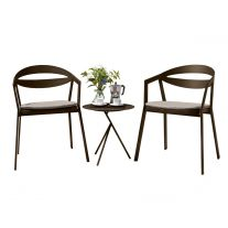 La Vida Aluminium 2 Seater Tea for Two Set in Coffee with Khaki Cushions & Explorer Table