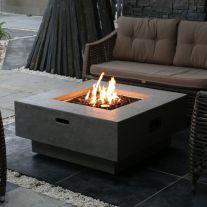 Manhattan HPC Concrete Square Fire Table in Light Grey