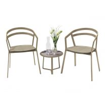 La Seine Aluminium & Textilene 2 Seater Tea for Two Set in Light Taupe with Khaki Sling & Apollo Table