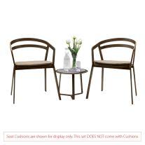 La Seine Aluminium 2 Seater Tea for Two Set in Coffee with Apollo Table (No Cushions)